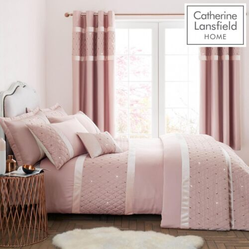Catherine Lansfield Sequin Cluster Blush Pink King Duvet Cover Quilt Bed Set New