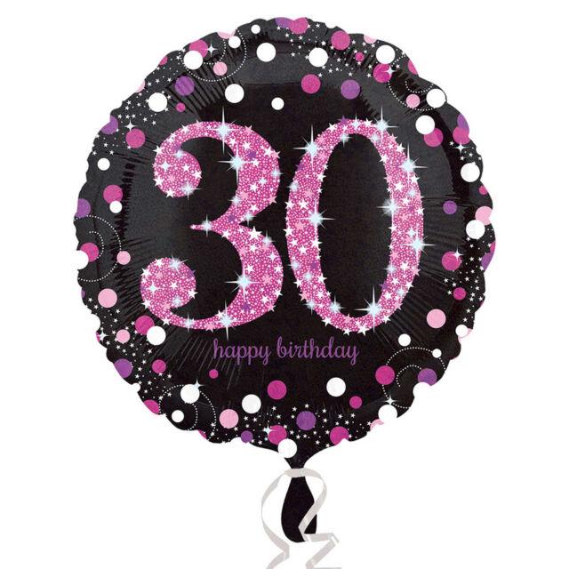 Pink 30th Birthday Balloon Foil 18 Inch Happy Black Helium Womens