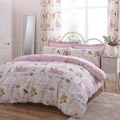 Paris Flickwerk Rosa Creme 144 Tc Baumwollmischung Einzelbett Bettbezug Bettwäsche