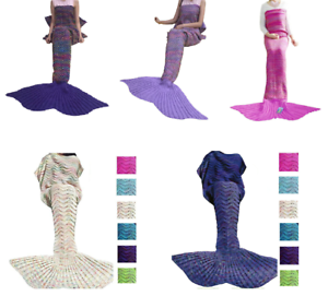 Adult-Mermaid-Tail-Knitted-Hand-Crocheted-Soft-Warm-Sleeping-Bag-Wrap-Blanket