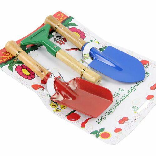 3pcs Junior Kids Garden Tools Sets Kit Trowel Rake Shovel Gardening Beach UK