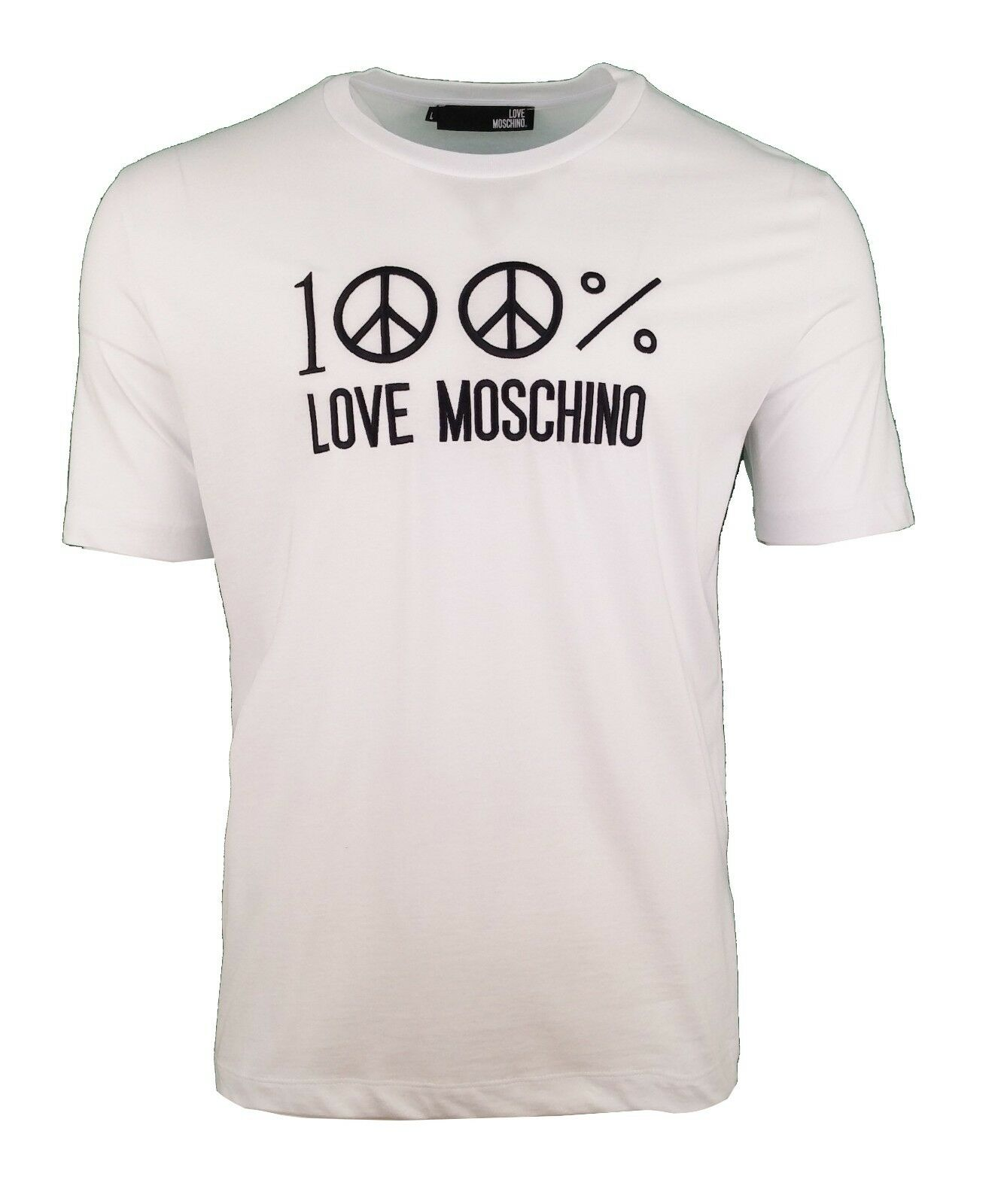 LOVE MOSCHINO 100% EMBROIDErot PEACE LOGO T-SHIRT Weiß & schwarz RARE
