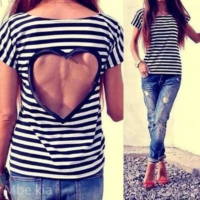 Summer Tops Backless Heart Striped Short Sleeve T-shirts Women's Blouse Stylish
