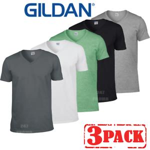 3 x GILDAN MEN/'S V-NECK T-SHIRT COTTON SHORT SLEEVE SUMMER CASUAL COLOURS PACK
