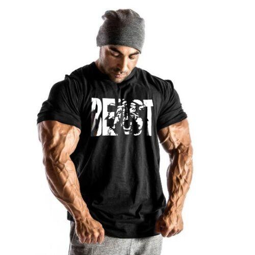 Men Gym Beast Bodybuilding Fitness Sport Workout Casual Cotton T-shirt Tee Vest