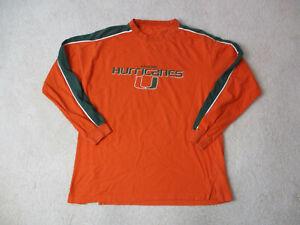 VINTAGE-Miami-Hurricanes-Long-Sleeve-Shirt-Adult-Large-Orange-Green-UM-Men-90s