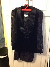 vintage fredericks of hollywood Black Lace ,Velvet , Satin Dress & Jacket 7/8