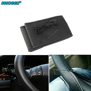 DIY PU Leather Car Auto Steering Wheel Cover With Needles and Thread Black go