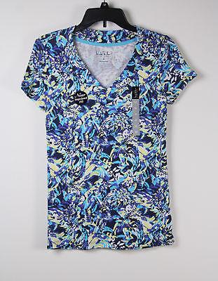 Nicole Miller T Shirt Top M Medium Blue Yellow White Splash V Womens New