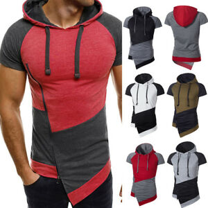 Mens-Slim-Fit-Short-Sleeve-Shirts-Gym-Hooded-Muscle-Tops-Hoodie-Casual-T-shirt