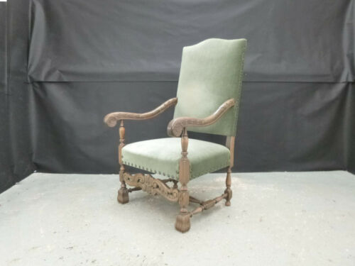 EB772 Danish Carved Oak & Green Velour High-Backed Lounge Chair Vintage Retro