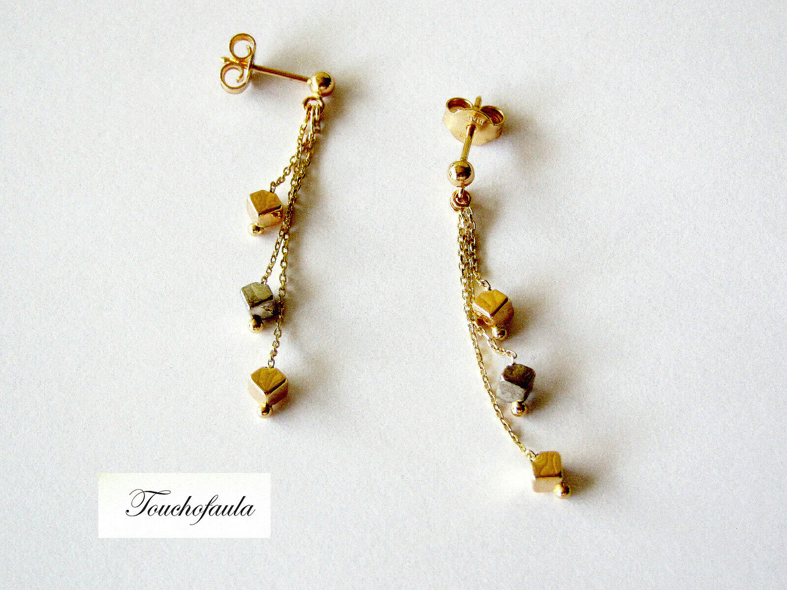 14K YELLOW gold DANGLE EARRINGS WITH TRI colorD CUBES HIGH POLISHED 1.7 GRAMS