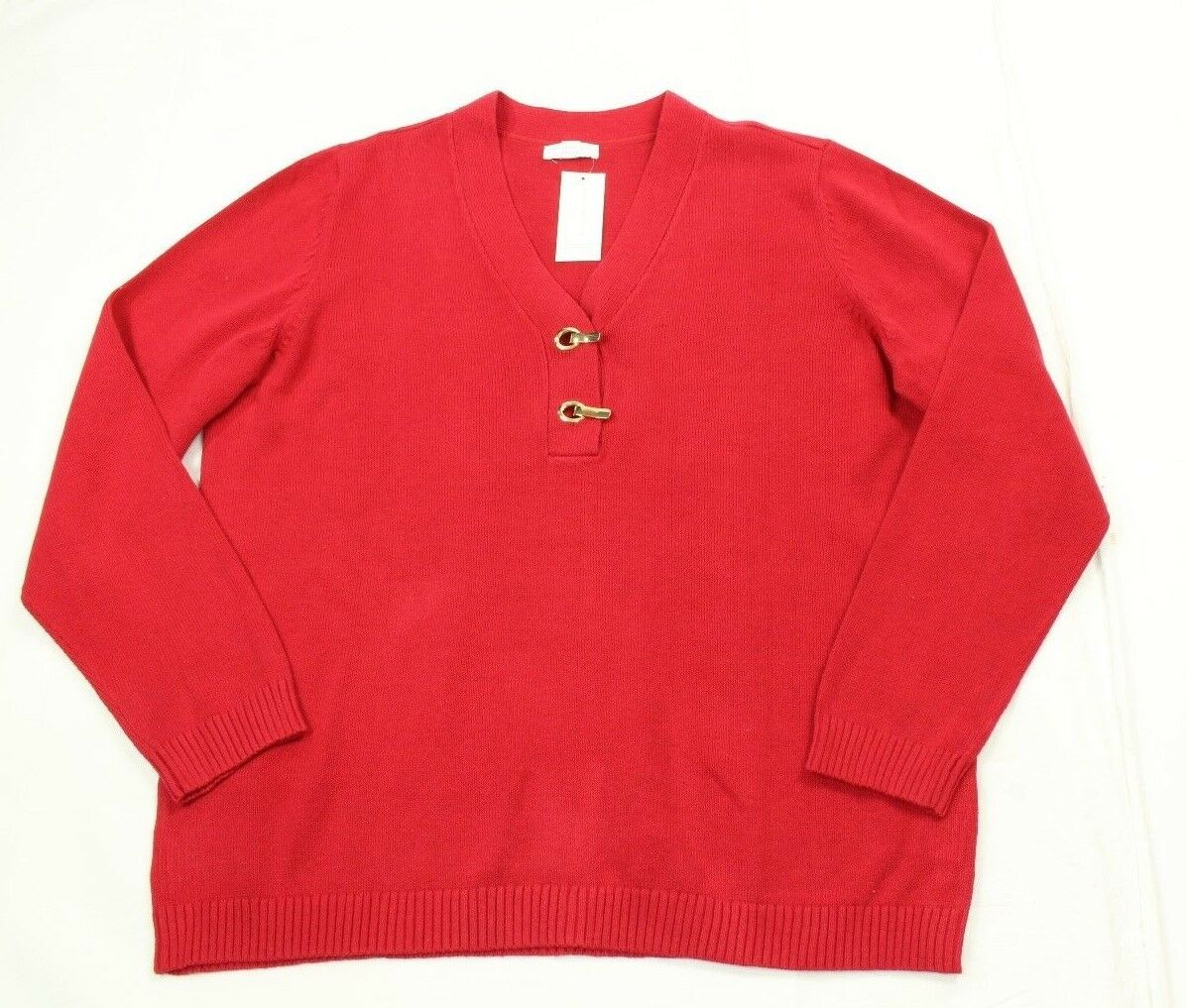 Charter Club Plus Size Henley Red Sweater size 0X Retail