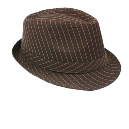 Trendy  Fedora Trilby Al Capone Hut Mafia Mafiahut Gangs NADELSTREIFEN HAT 025