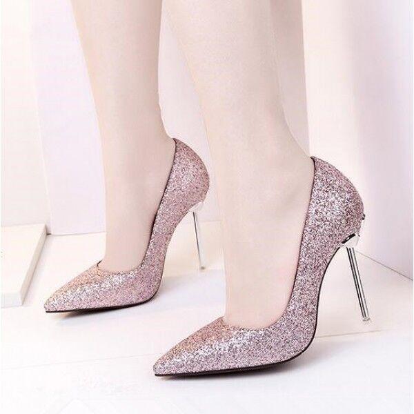 decolte scarpe donna rosa strass stiletto pelle 10.5 tacco spillo simil pelle stiletto 8171 88083d