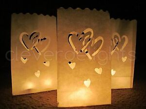 Details About White Luminary Bags Interlocking Hearts Luminaria Wedding Party Reception