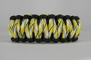 550 Paracord Survival Bracelet Cobra Black//Yellow Camping Military Tactical