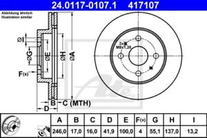 2x Bremsscheibe für Bremsanlage Vorderachse ATE 24.0117-0107.1