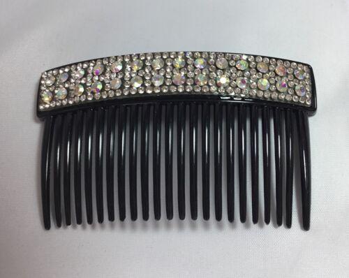 10cm Black Side Comb.BLACK Diamante.Glittery.Shiny.