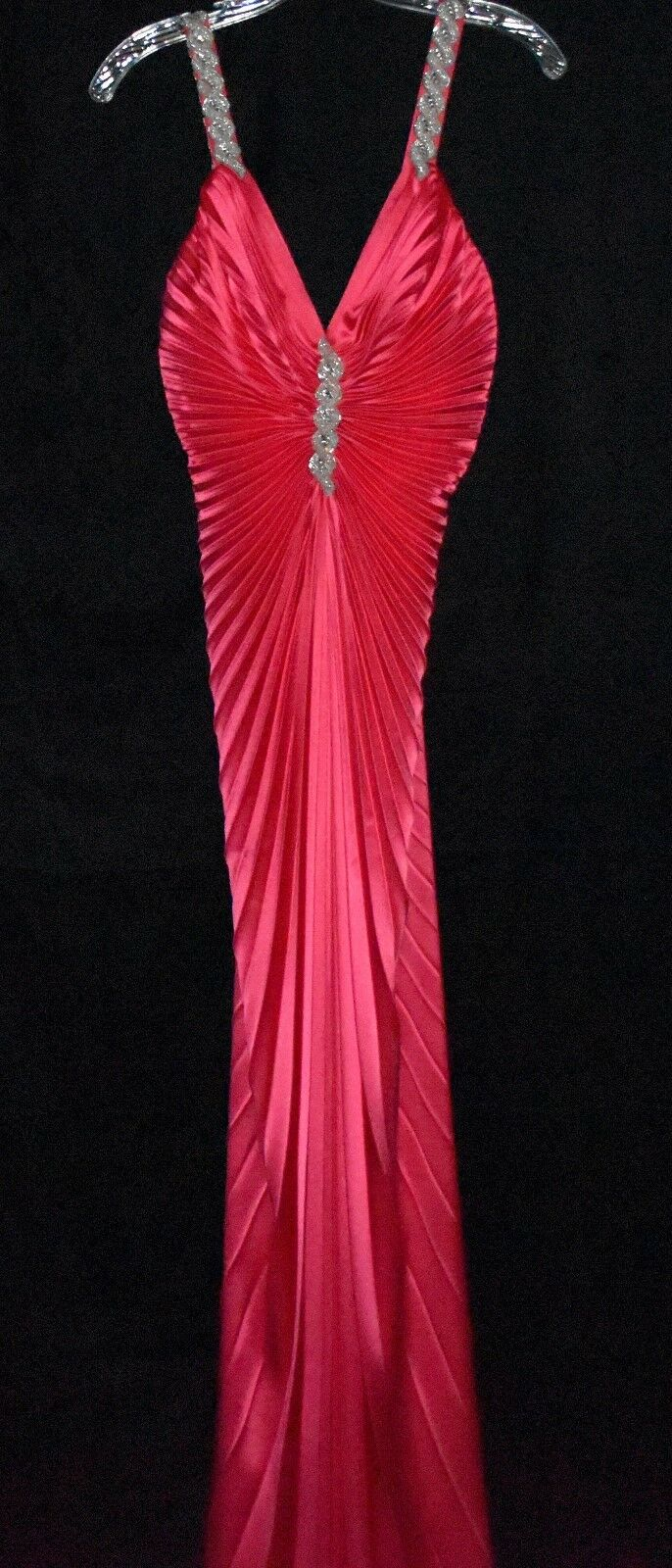 Nicole Bakti Pink Accordion Pleated Maxi Dress with Beads & Rhinestones Size S