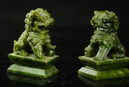 Rare A pair 100/% China natural jade hand-carved statues of pixiu dragon