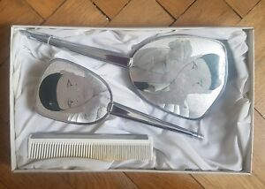 VTG-PIERROT-CLOWN-Comb-Hand-Mirror-amp-Brush-Vanity-Set-Boxed-MADE-IN-ENGLAND