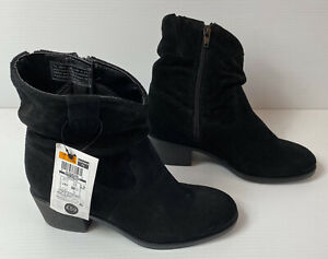 M\u0026S Black Suede Leather Ankle Boots Zip
