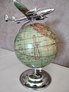 Superbe Avion Constellation en aluminium avec globe mappemonde, sur pied ,neuf