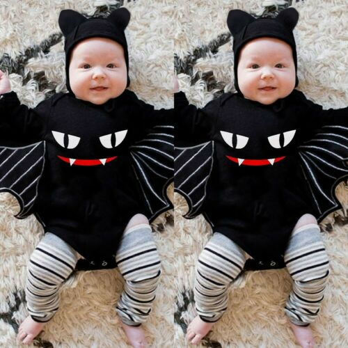 Infant Baby Boys Girls Halloween Cosplay Costume Romper Bodysuit+Hat Outfit Set