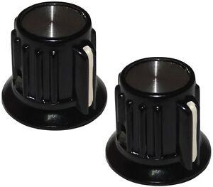 2 Boutons De Potentiomètre Pour Axe Lisse 6.35mm Ø20x17mm. Couleur: Noir/argent V1vpko5w-07161636-942027743