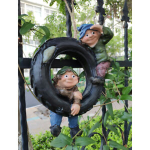 Garden-Decorative-Swinging-Boys-Statue-Fairy-Home-Tree-House-Ornament-Craft