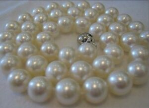 Exquisite-10MM-SOUTH-SEA-WHITE-shell-PEARL-ROUND-NECKLACE-18-INCH-PN216