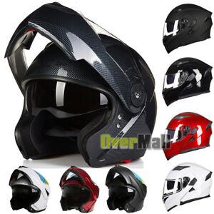 DOT-Dual-Visor-Flip-Up-Motorcycle-Helmet-Racing-Motocross-Full-Face-Multi-Color