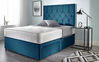 BRAND NEW GREY LINEN MEMORY DIVAN BED 3FT 4FT 4FT 6 DOUBLE 5FT 6FT