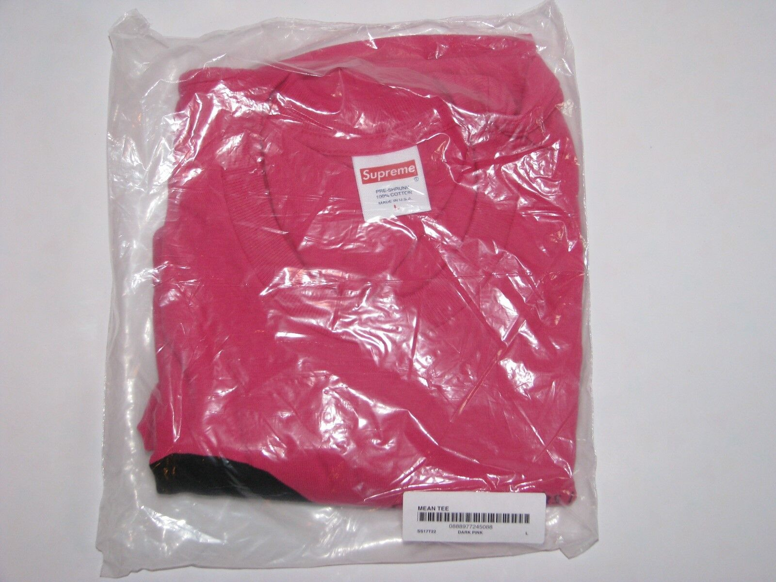 SUPREME New York Mean Tee Shirt Dark Pink Men's Large NEW  S S 2017 Box Logo