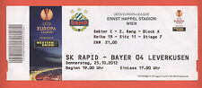 Orig.Ticket   Europa League 12/13   SK RAPID WIEN - BAYER 04 LEVERKUSEN  !!