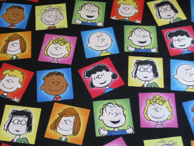 Peanuts Snoopy Franklin Lucy Charlie Brown Black Fabric - 13 Inches x 43 Inches