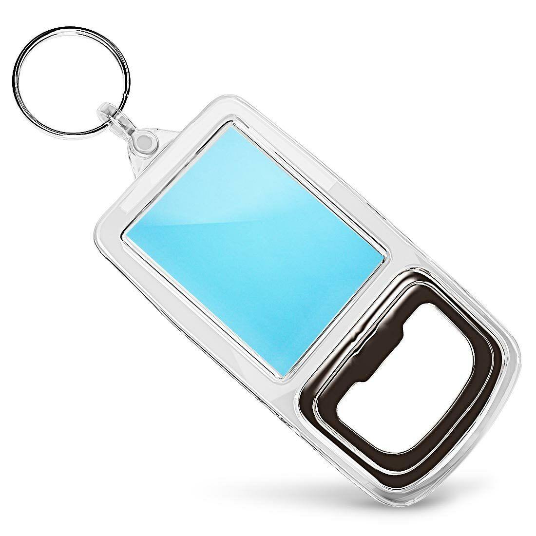Acrylic Bottle Opener Keyring - Light Blue Pastel Colour Background #21261