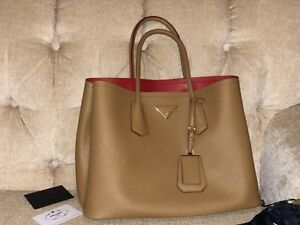 Image Is Loading Prada Saffiano Cuir Double Tote Bag Leather Handbag
