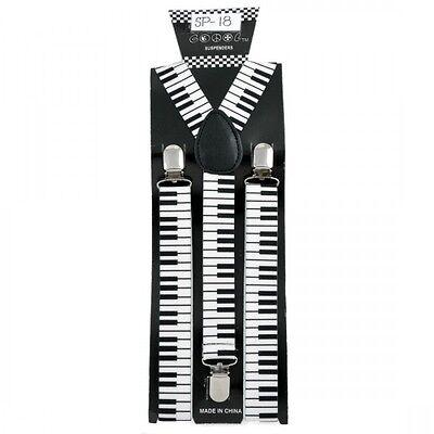 NEW ADJUSTABLE CLIP ON Y-SHAPE SUSPENDERS ~ BLACK WHITE KEYBOARD PIANO KEYS SP18