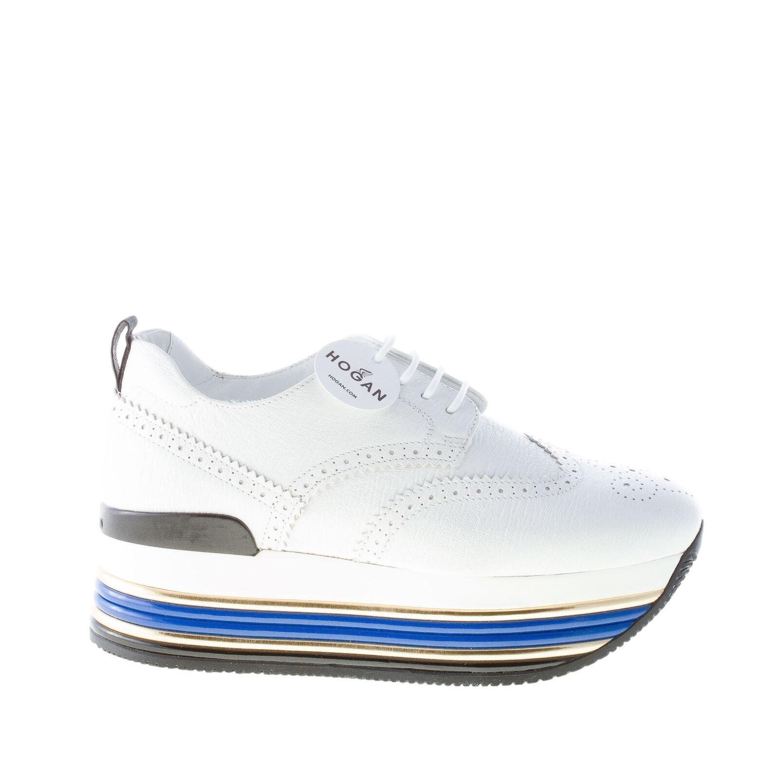 HOGAN shoes femme Maxi H222 white pebbled leather derby with wingtip detail