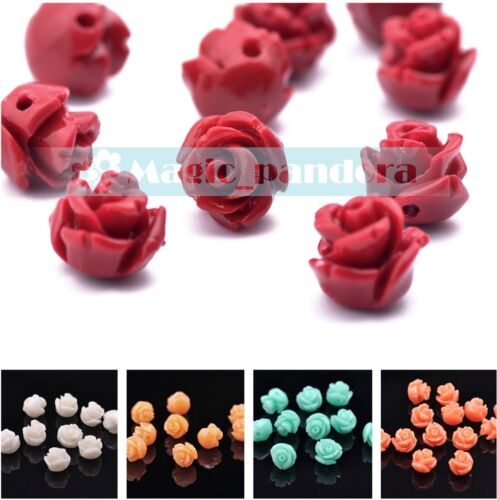 20pcs 10mm Flower Synthetic Coral Loose Spacer Pendant Beads DIY Jewelry Making