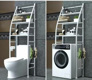 Bathroom Space Saver Storage Shelf Over Toilet With Roll Holder Towel Hook Gift