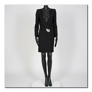 GIVENCHY-3230-Authentic-New-Short-Black-Double-Breasted-Jewel-Dress