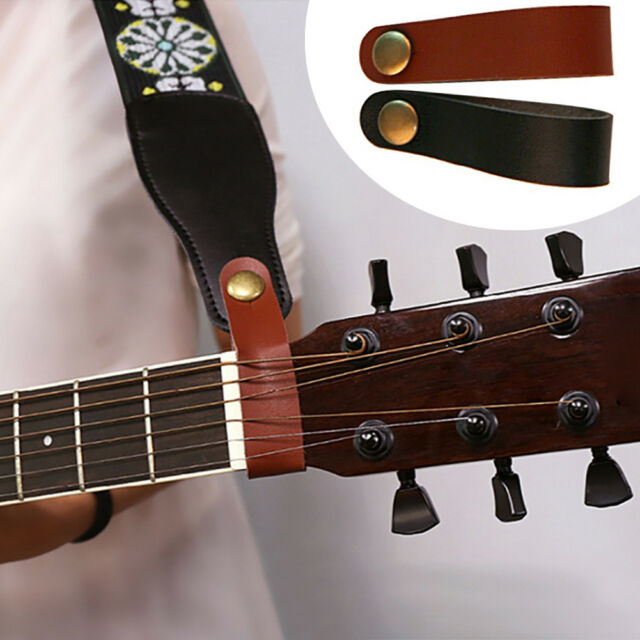1pcs Leather Headstock Tie Strap Button Hook For Acoustic Electric