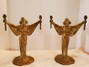 """Superbe paire de 12.5"""" ml en métal art nouveau femmes figurées candlesticks"""