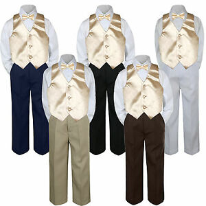 4pc Champagne  Vest Bow Tie Suit Pants Set Baby Boy Toddler Kid Uniform S-7
