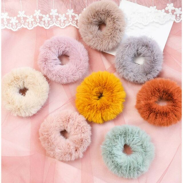 Women Solid Faux Fur Furry Scrunchies Elastic Rubber Bands Plush Hair Rope n