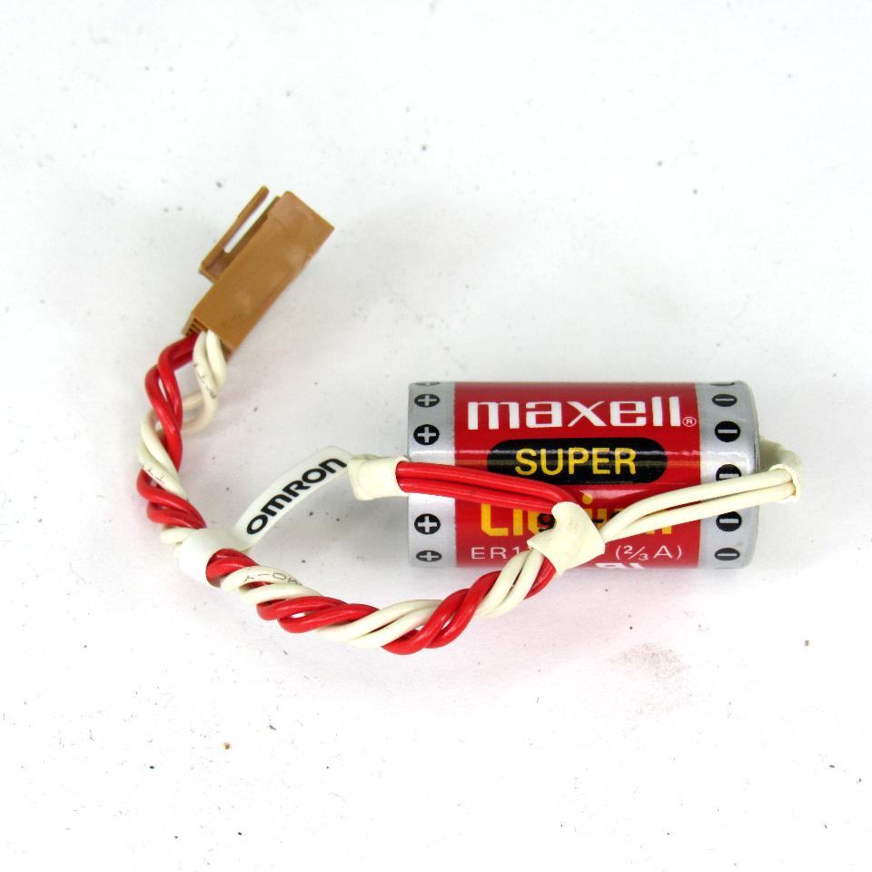Omron 3G2A9-BAT08 Maxell Lithium Battery, 2/3 Amp, 3.6V, <212° F