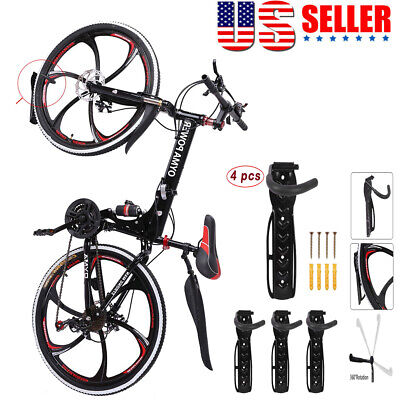 4PCS Bicycle Bike Wall Mount Hook Hanger Garage Storage Holder Rack Black US